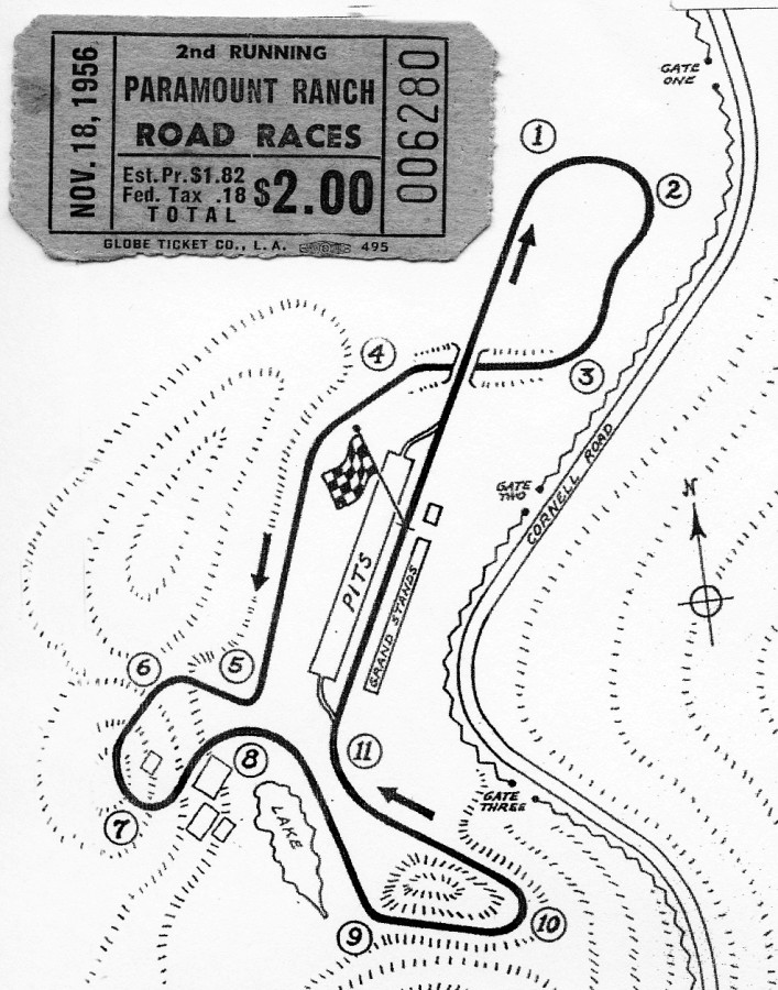 Map of original road course at the Paramount Ranch